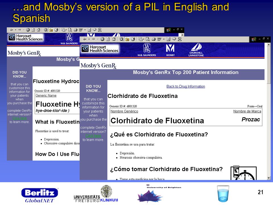 21 …and Mosbys version of a PIL in English and Spanish