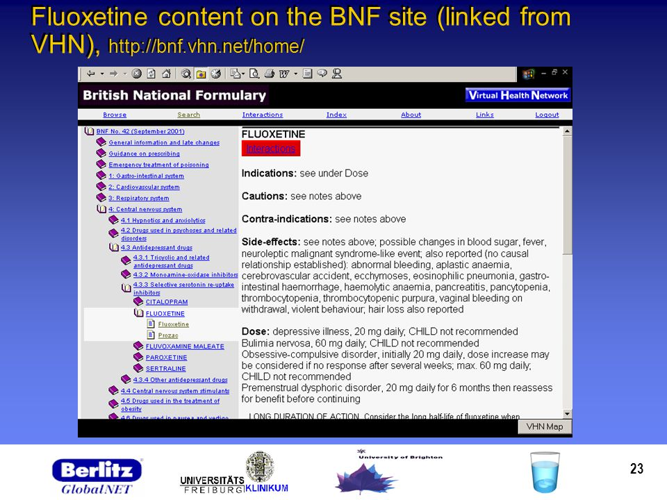 23 Fluoxetine content on the BNF site (linked from VHN), http://bnf.vhn.net/home/