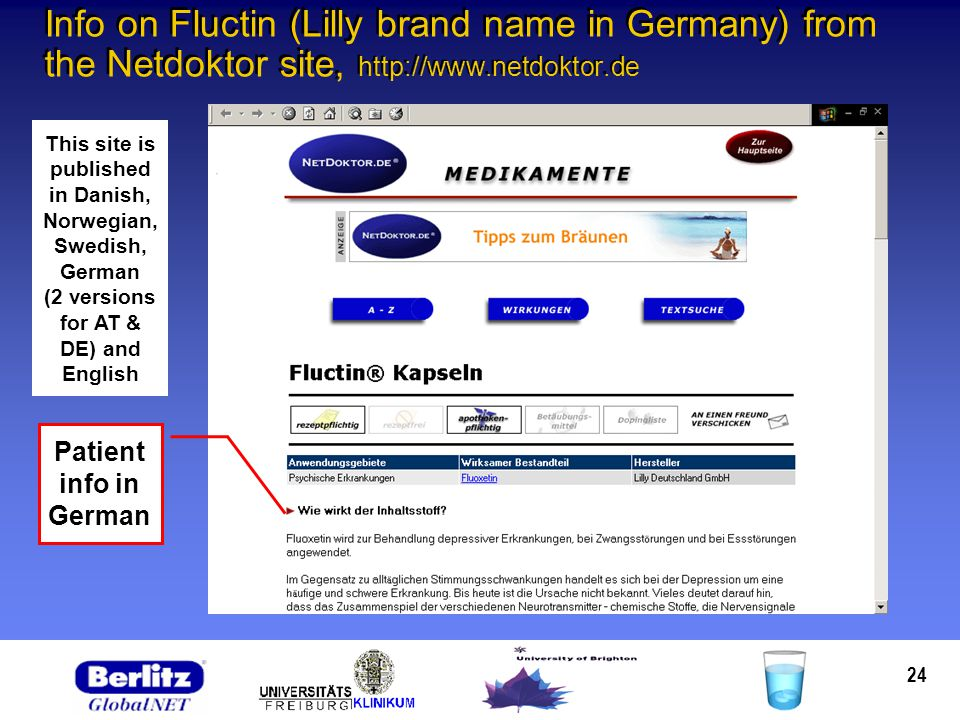 24 Info on Fluctin (Lilly brand name in Germany) from the Netdoktor site, http://www.netdoktor.de Patient info in German This site is published in Dan