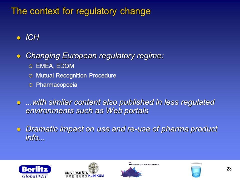 28 The context for regulatory change ICH ICH Changing European regulatory regime: Changing European regulatory regime: EMEA, EDQM Mutual Recognition P