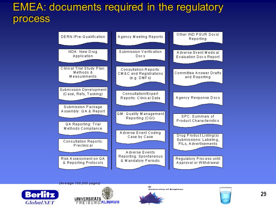 29 EMEA: documents required in the regulatory process