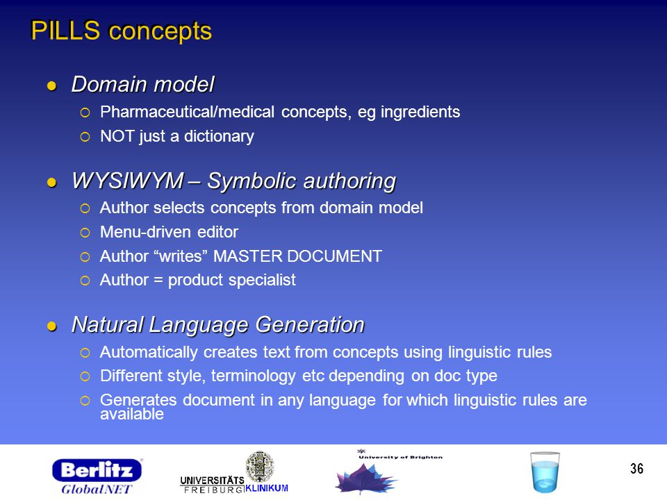 36 PILLS concepts Domain model Domain model Pharmaceutical/medical concepts, eg ingredients NOT just a dictionary WYSIWYM – Symbolic authoring WYSIWYM – Symbolic authoring Author selects concepts from domain model Menu-driven editor Author writes MASTER DOCUMENT Author = product specialist Natural Language Generation Natural Language Generation Automatically creates text from concepts using linguistic rules Different style, terminology etc depending on doc type Generates document in any language for which linguistic rules are available