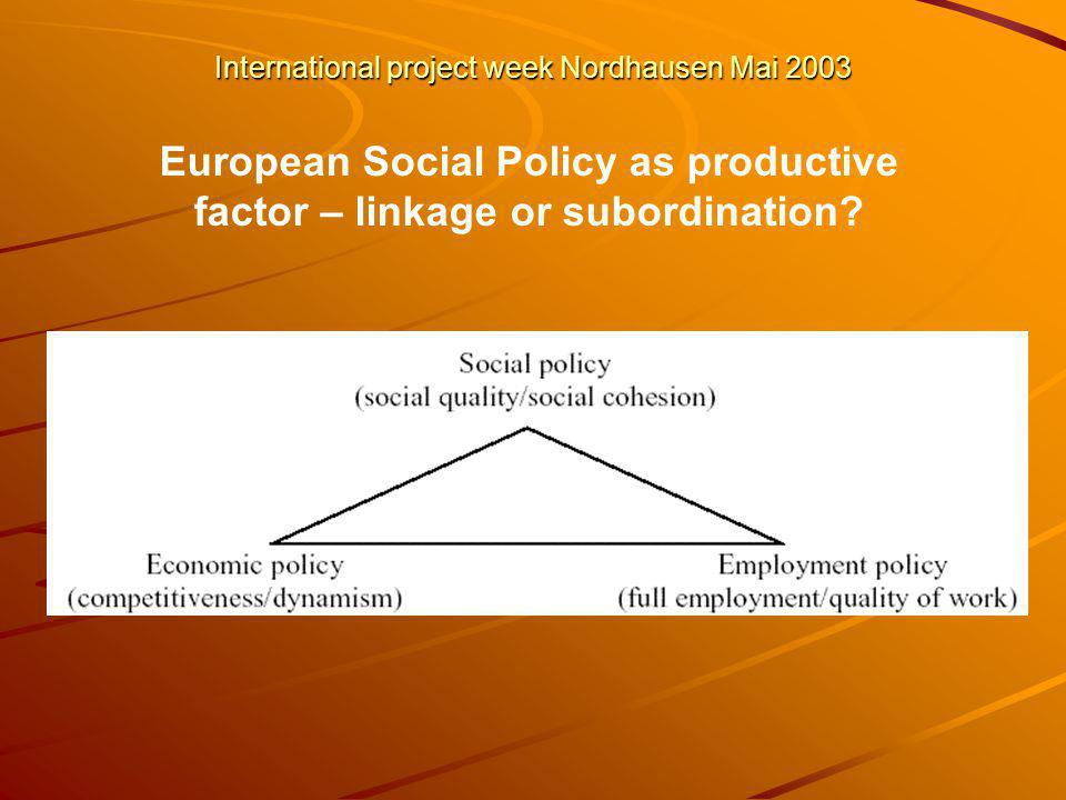 International project week Nordhausen Mai 2003 European Social Policy as productive factor – linkage or subordination