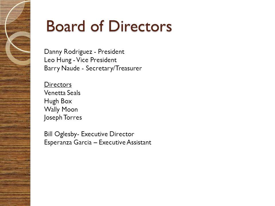 Board of Directors Danny Rodriguez - President Leo Hung - Vice President Barry Naude - Secretary/Treasurer Directors Venetta Seals Hugh Box Wally Moon