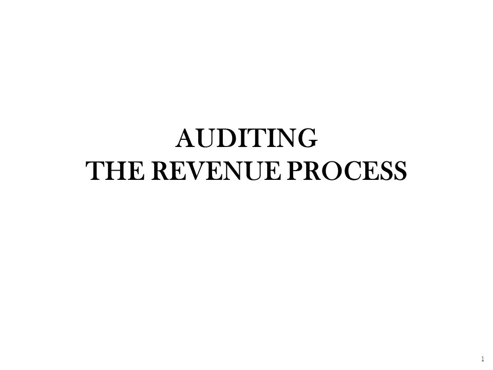 1 AUDITING THE REVENUE PROCESS