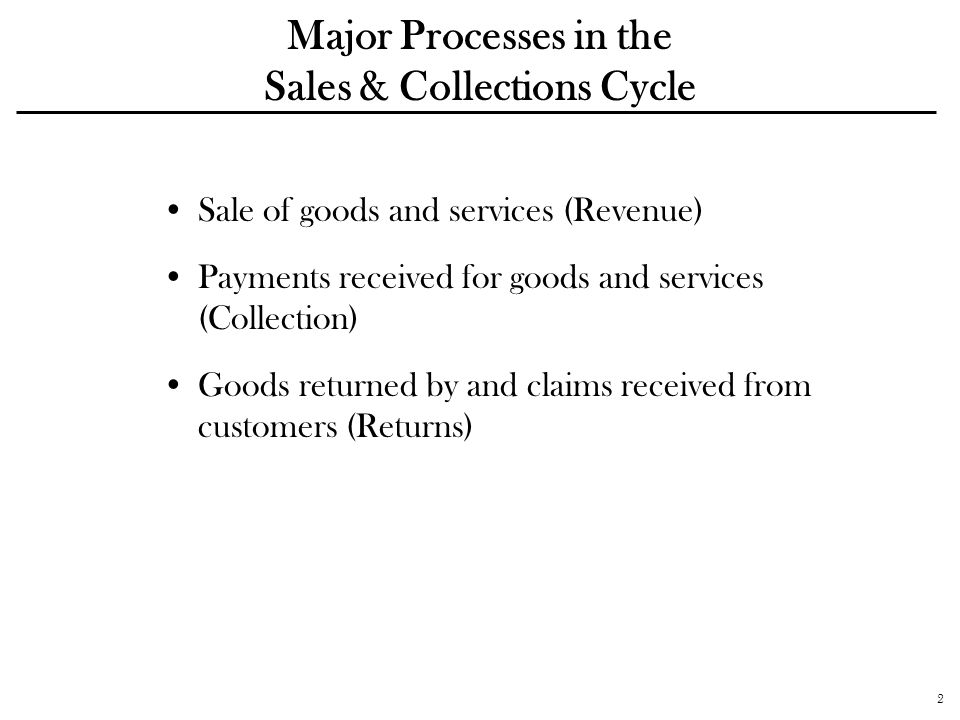 2 Major Processes in the Sales & Collections Cycle Sale of goods and services (Revenue) Payments received for goods and services (Collection) Goods re