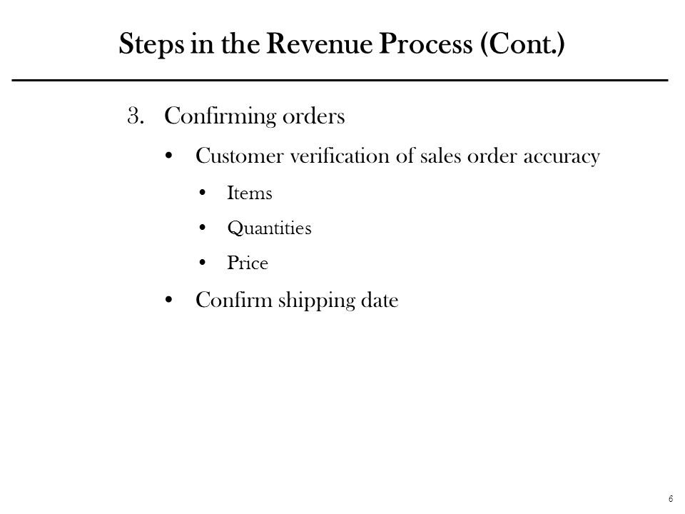 6 Steps in the Revenue Process (Cont.) 3.Confirming orders Customer verification of sales order accuracy Items Quantities Price Confirm shipping date