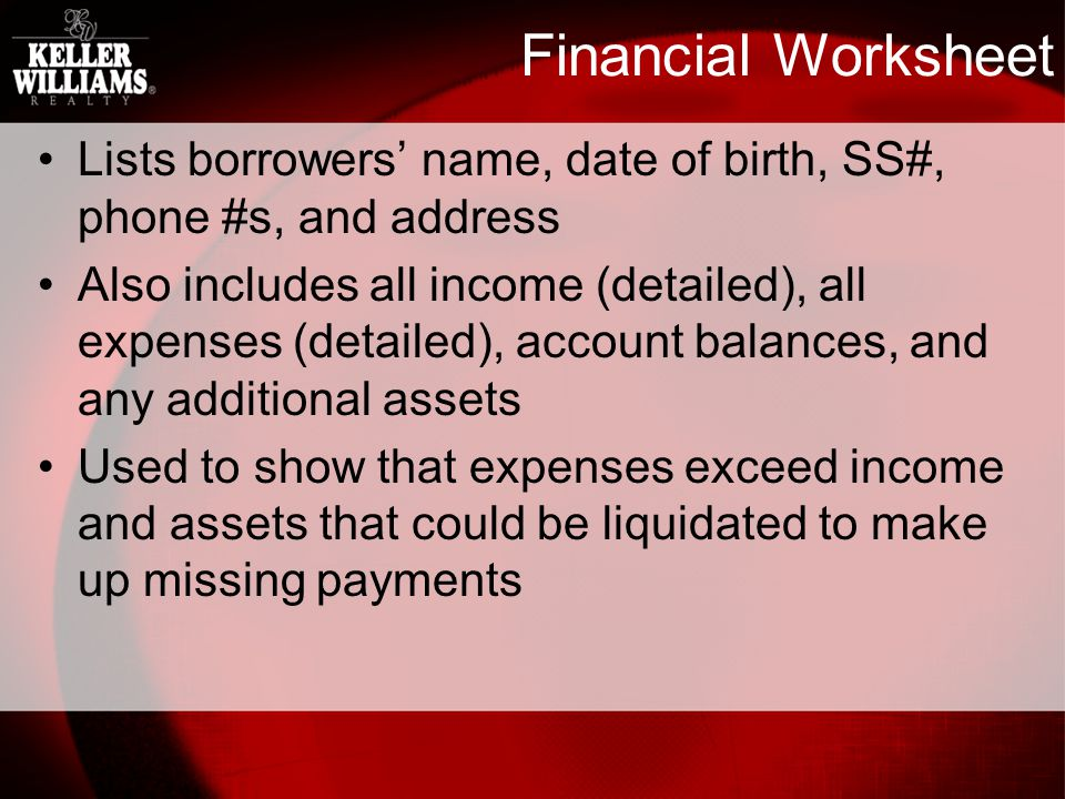 Financial Worksheet Lists borrowers name, date of birth, SS#, phone #s, and address Also includes all income (detailed), all expenses (detailed), account balances, and any additional assets Used to show that expenses exceed income and assets that could be liquidated to make up missing payments