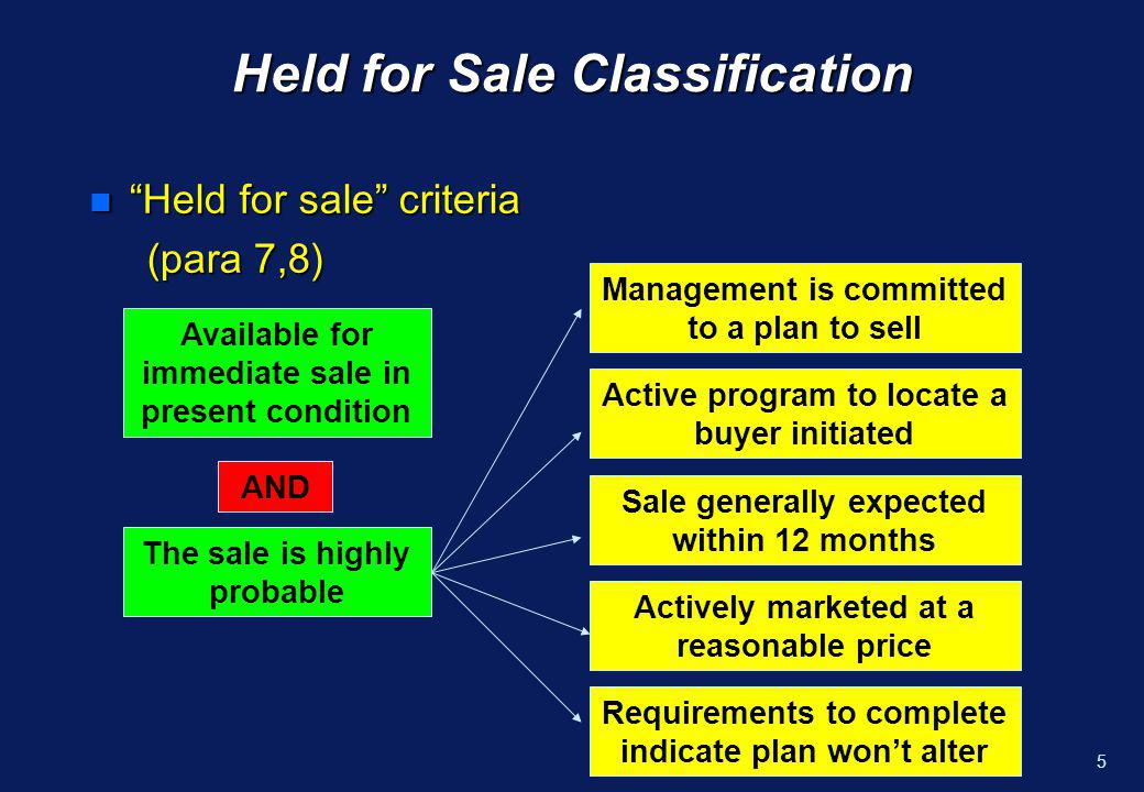 4Scope n The classification and presentation requirements apply to all recognised non-current assets and to all disposal groups Disposal group – n A group of assets and associated liabilities to be disposed of, by sale or otherwise, as a group in a single transaction n Includes goodwill acquired in a business combination if the group is a CGU to which goodwill was assigned (IAS 36)