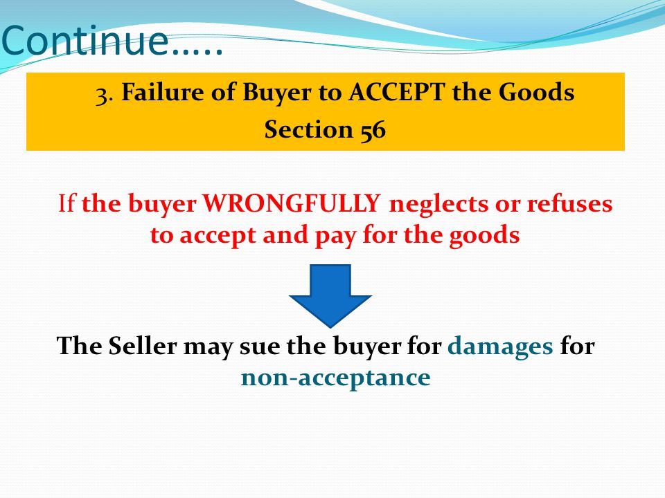Continue….. 3. Failure of Buyer to ACCEPT the Goods Section 56 If the buyer WRONGFULLY neglects or refuses to accept and pay for the goods The Seller