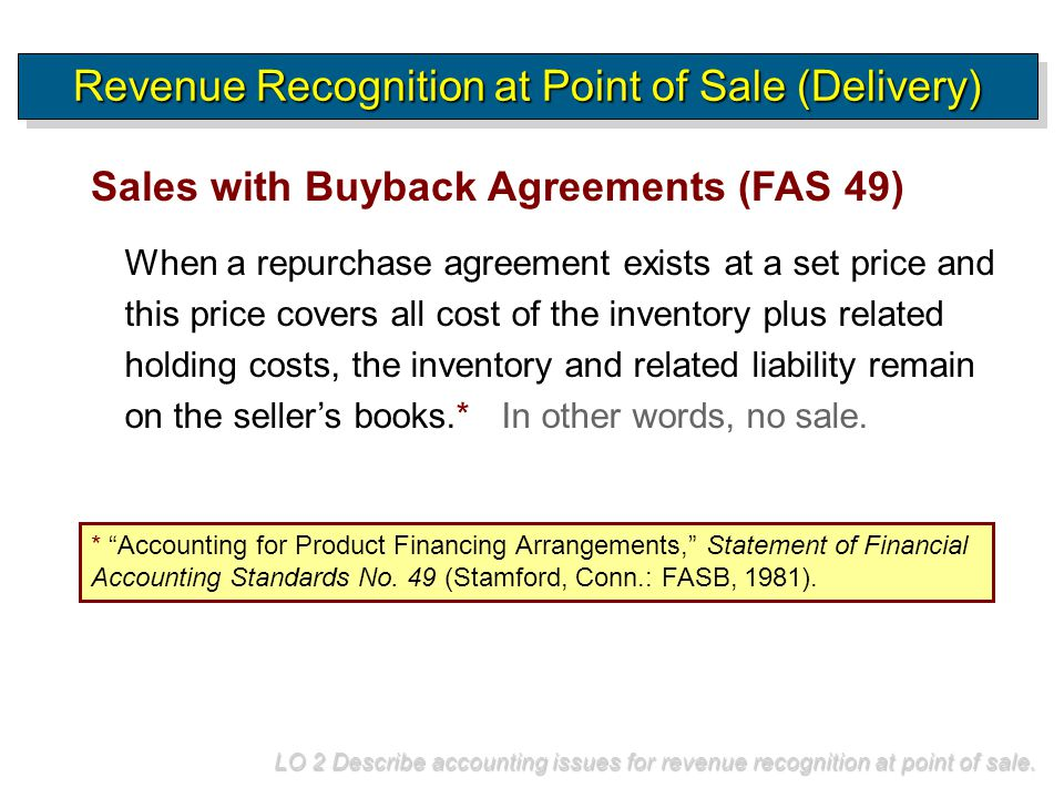 When a repurchase agreement exists at a set price and this price covers all cost of the inventory plus related holding costs, the inventory and relate