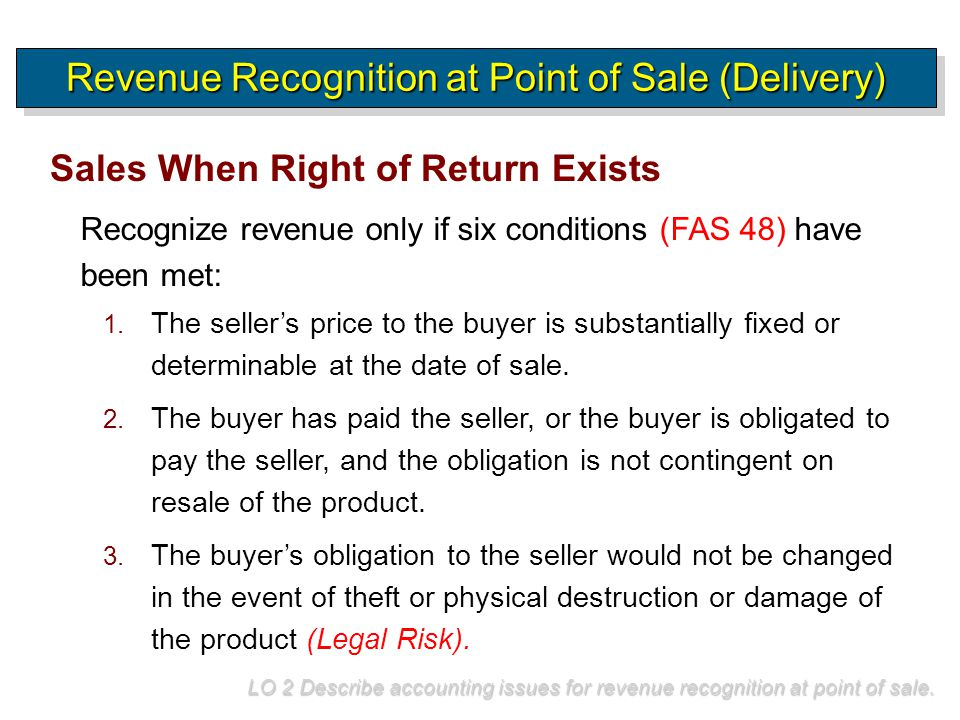 Recognize revenue only if six conditions (FAS 48) have been met: Sales When Right of Return Exists Revenue Recognition at Point of Sale (Delivery) LO
