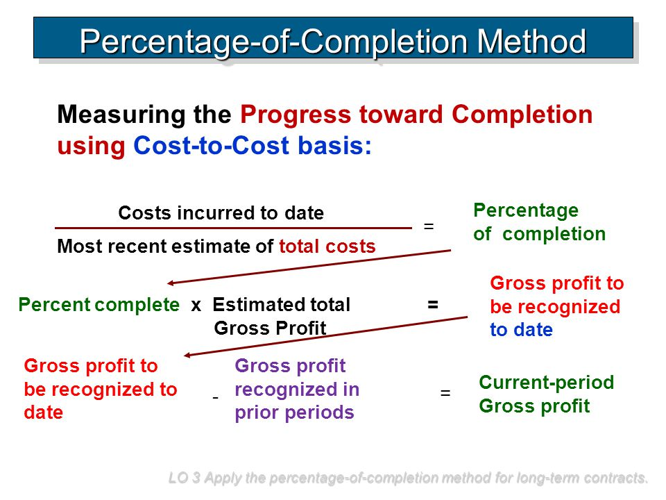 Measuring the Progress toward Completion using Cost-to-Cost basis: LO 3 Apply the percentage-of-completion method for long-term contracts. Percentage-