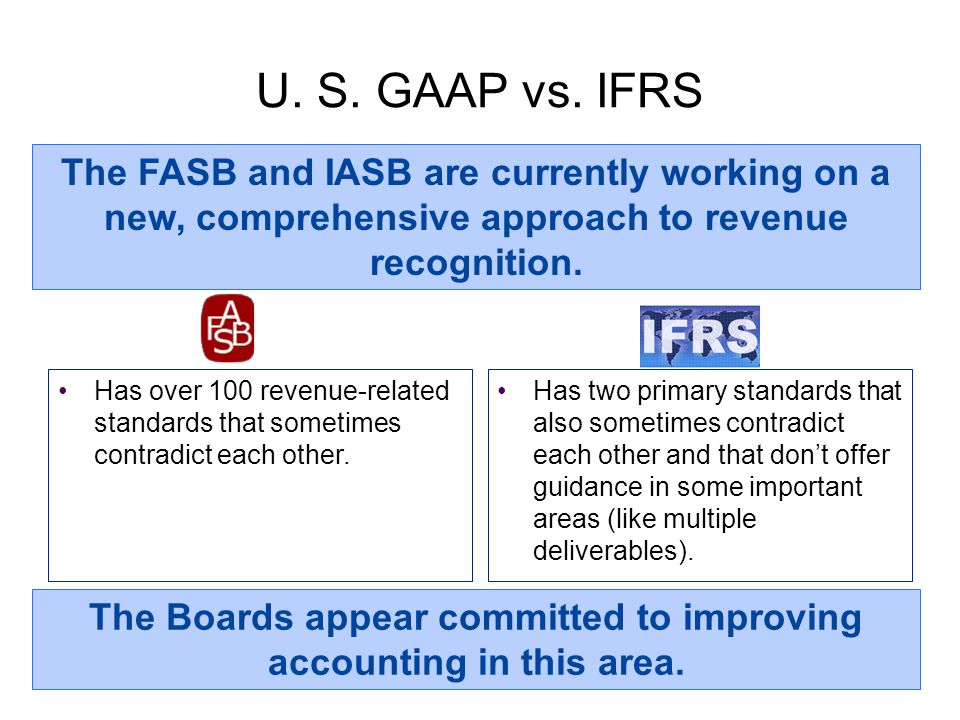 U. S. GAAP vs. IFRS Has over 100 revenue-related standards that sometimes contradict each other. The FASB and IASB are currently working on a new, com