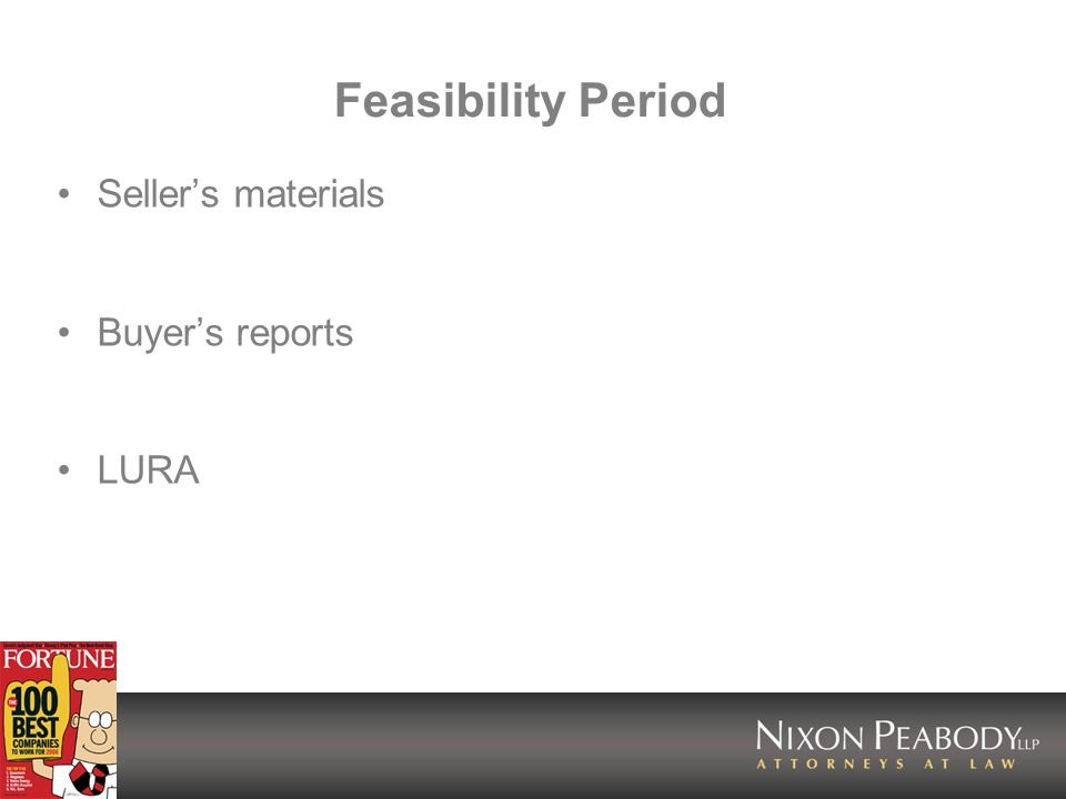 Feasibility Period Sellers materials Buyers reports LURA