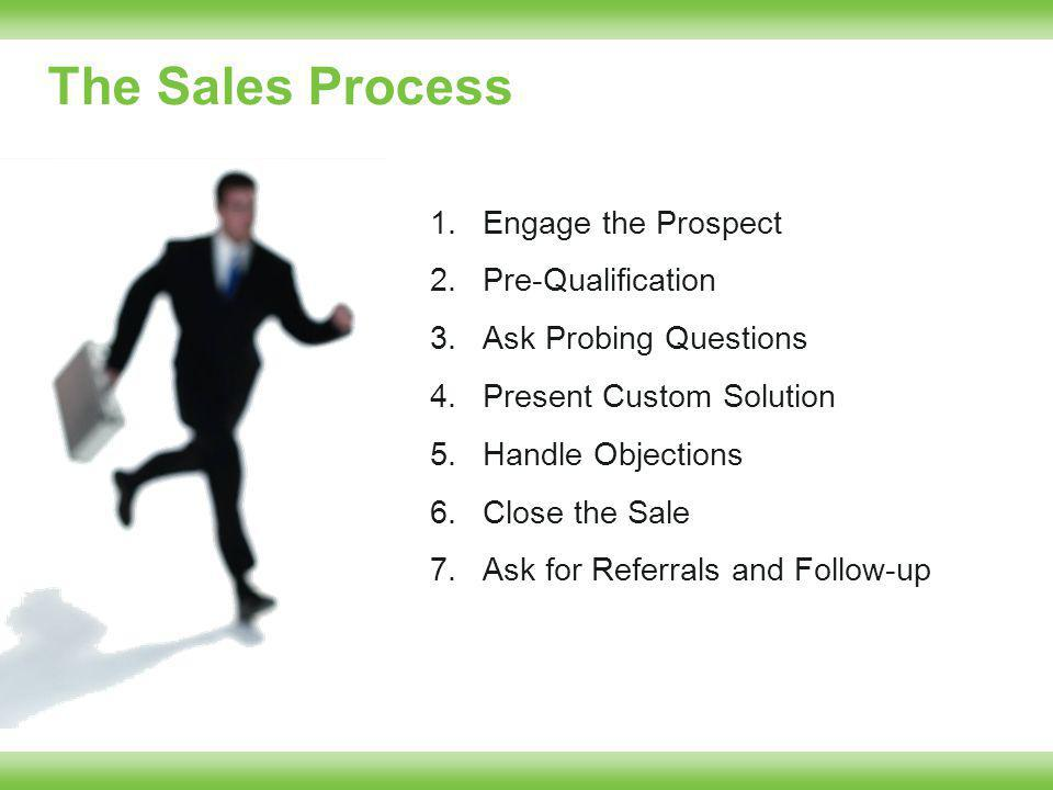 The Sales Process 1.Engage the Prospect 2.Pre-Qualification 3.Ask Probing Questions 4.Present Custom Solution 5.Handle Objections 6.Close the Sale 7.Ask for Referrals and Follow-up