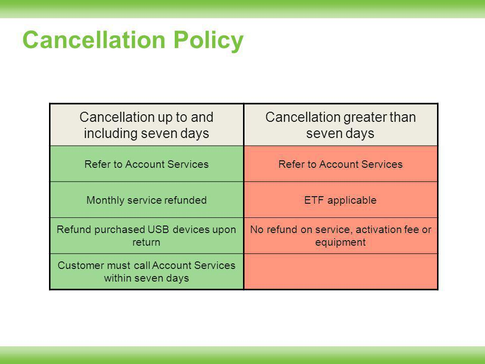 Cancellation Policy Cancellation up to and including seven days Cancellation greater than seven days Refer to Account Services Monthly service refundedETF applicable Refund purchased USB devices upon return No refund on service, activation fee or equipment Customer must call Account Services within seven days