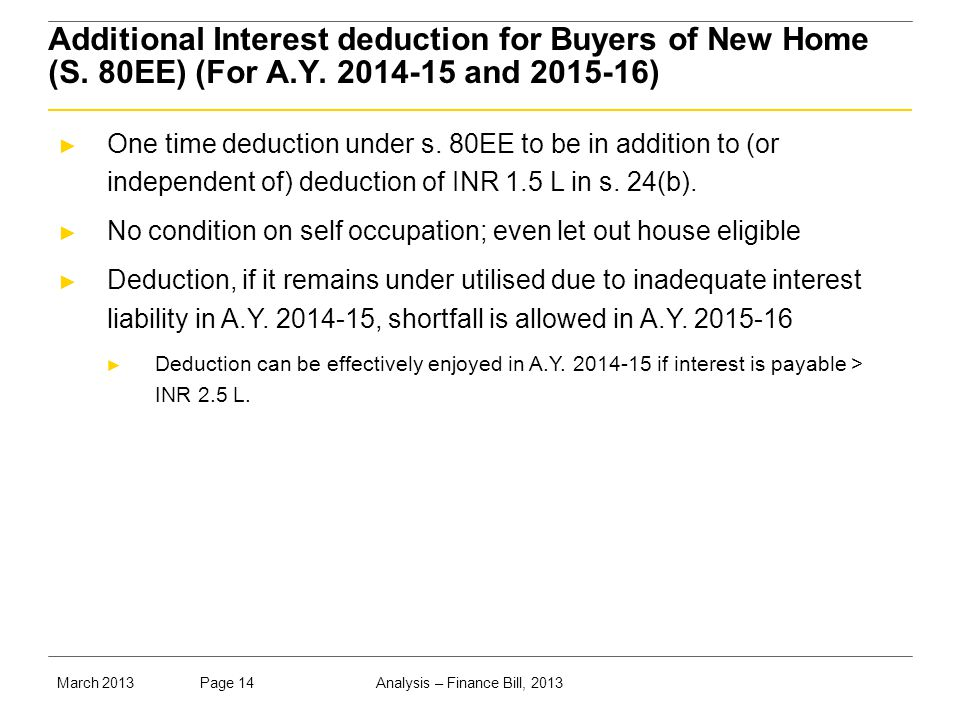 Analysis – Finance Bill, 2013Page 14March 2013 Additional Interest deduction for Buyers of New Home (S.