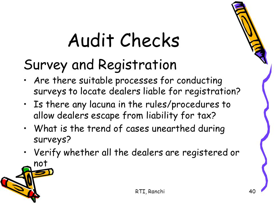 RTI, Ranchi40 Audit Checks Survey and Registration Are there suitable processes for conducting surveys to locate dealers liable for registration.