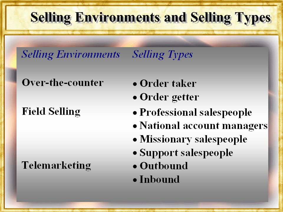 Dr. Rosenbloom Selling Environments and Selling Types