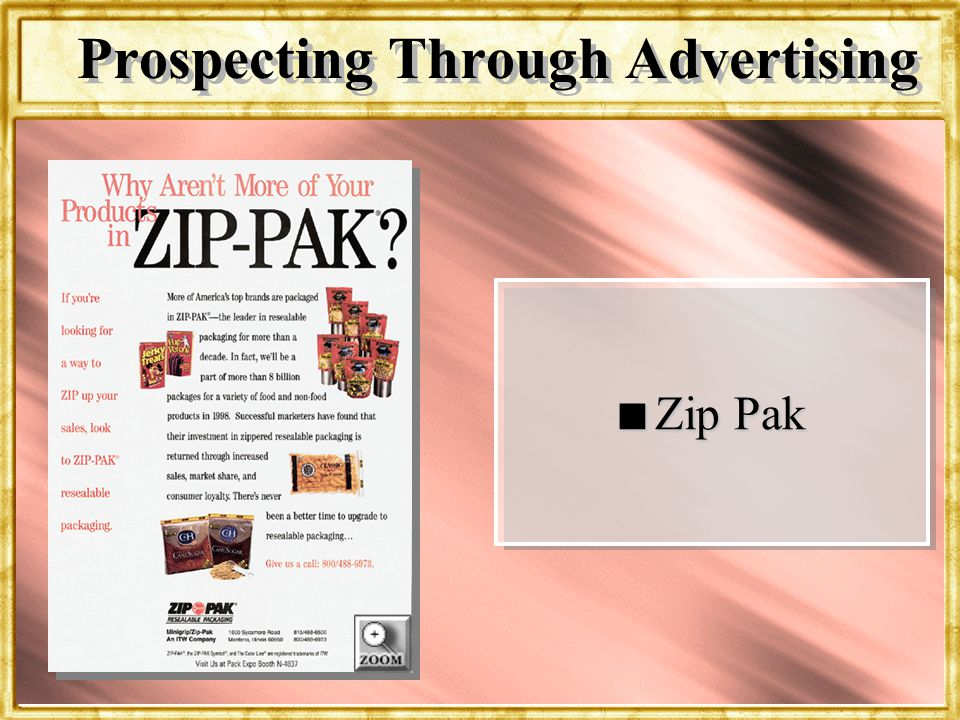 Dr. Rosenbloom n Zip Pak Prospecting Through Advertising