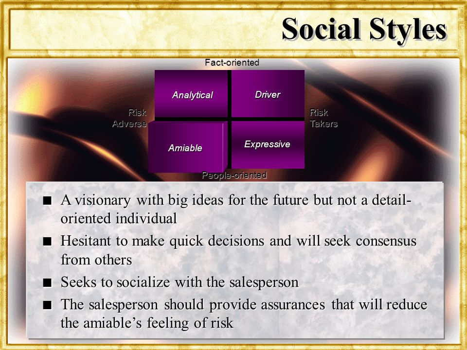 Dr. Rosenbloom Social Styles Risk Takers Analytical Driver Amiable Expressive Fact-oriented Risk Adverse People-oriented n A visionary with big ideas
