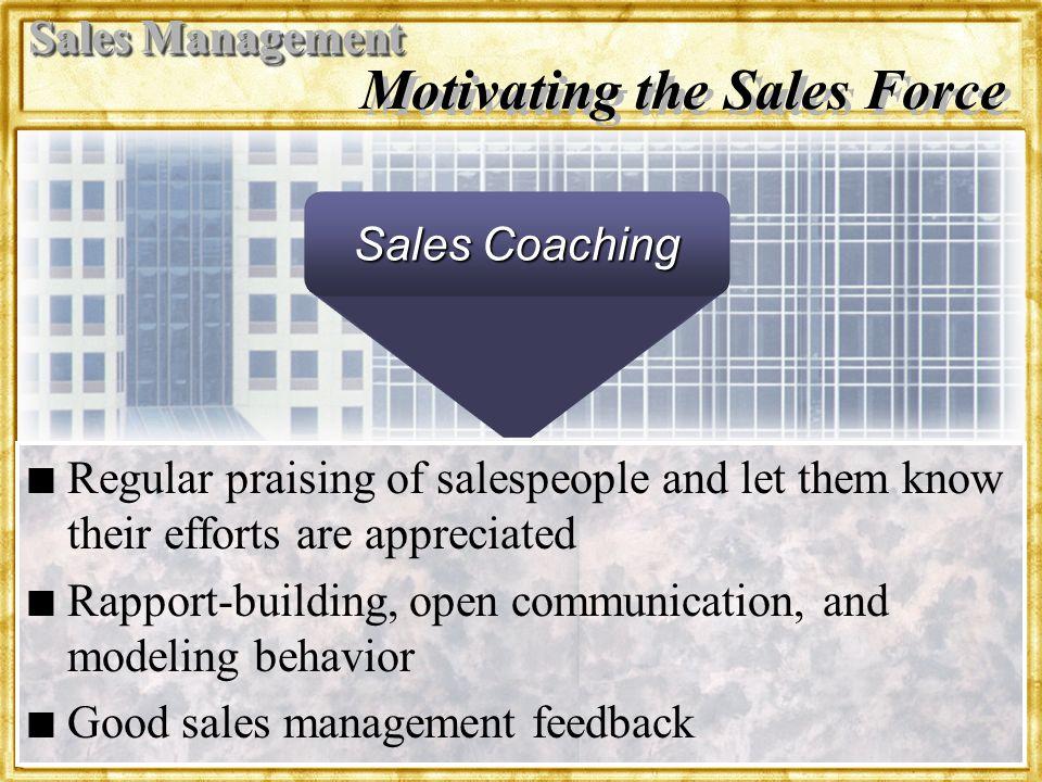 Dr. Rosenbloom Motivating the Sales Force n n Regular praising of salespeople and let them know their efforts are appreciated n n Rapport-building, op