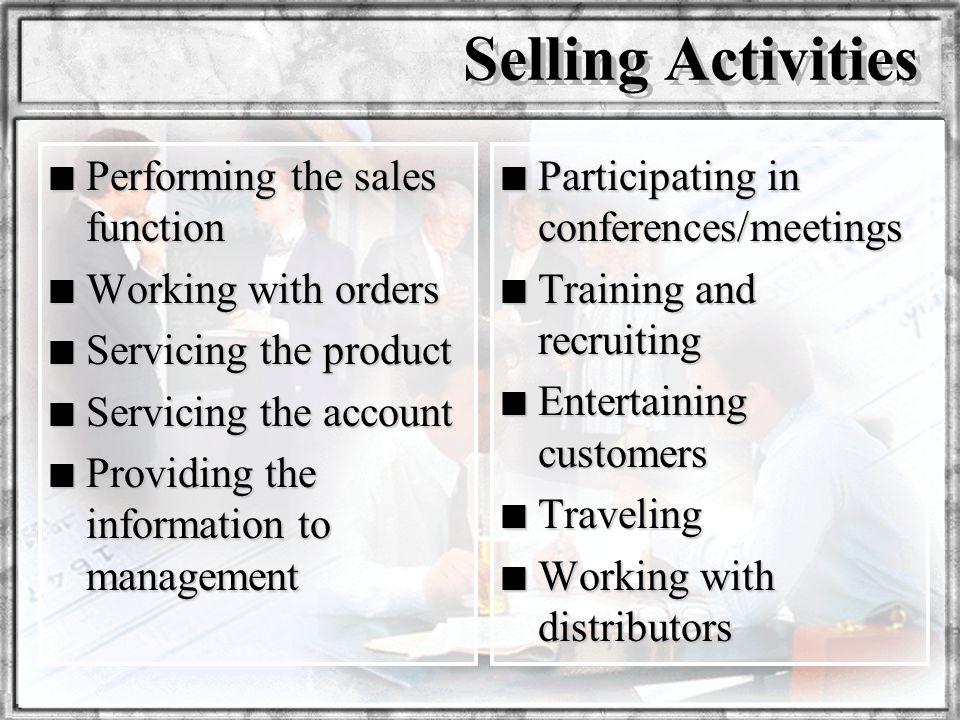 Dr. Rosenbloom Selling Activities n Performing the sales function n Working with orders n Servicing the product n Servicing the account n Providing th