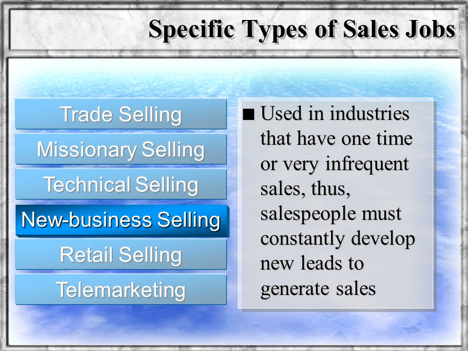 Dr. Rosenbloom n Used in industries that have one time or very infrequent sales, thus, salespeople must constantly develop new leads to generate sales