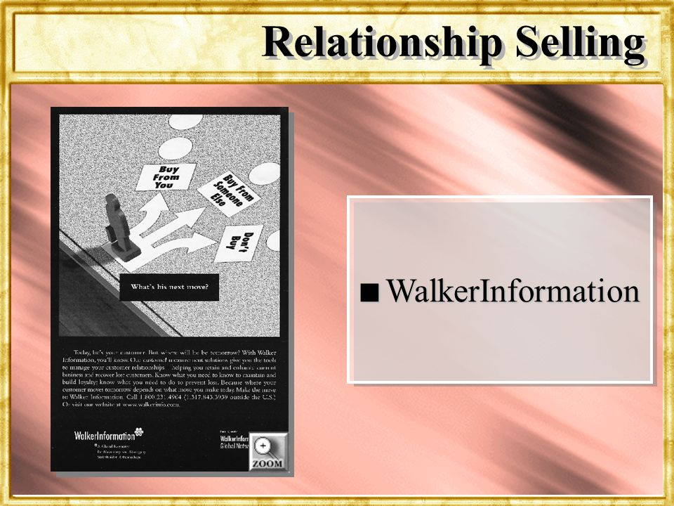 Dr. Rosenbloom n WalkerInformation Relationship Selling