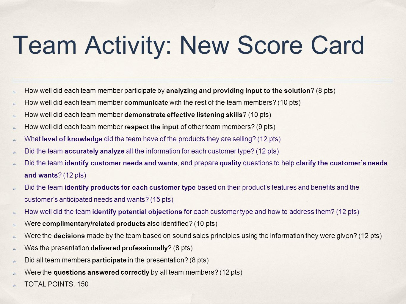 Team Activity: New Score Card How well did each team member participate by analyzing and providing input to the solution? (8 pts) How well did each te
