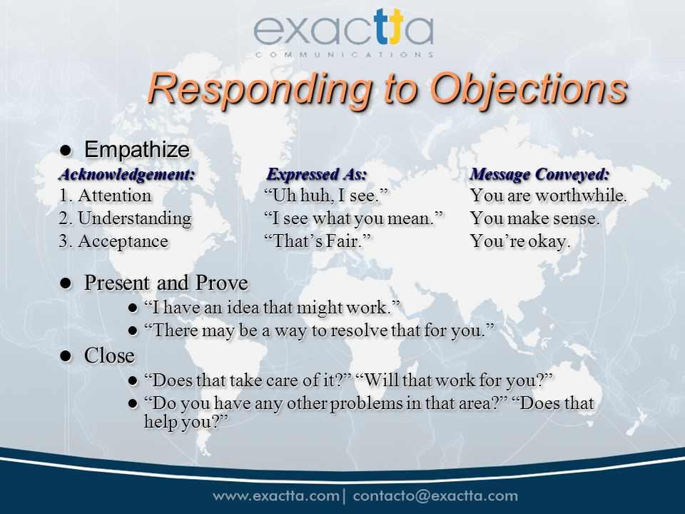 Responding to Objections Empathize Empathize Acknowledgement: Expressed As:Message Conveyed: 1.