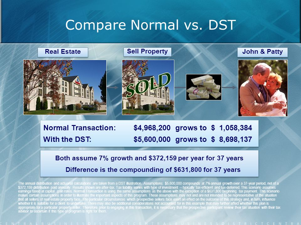 Compare Normal vs. DST Sell Property The annual distribution and actuarial calculations are taken from a DST illustration. Assumptions: $5,600,000 com