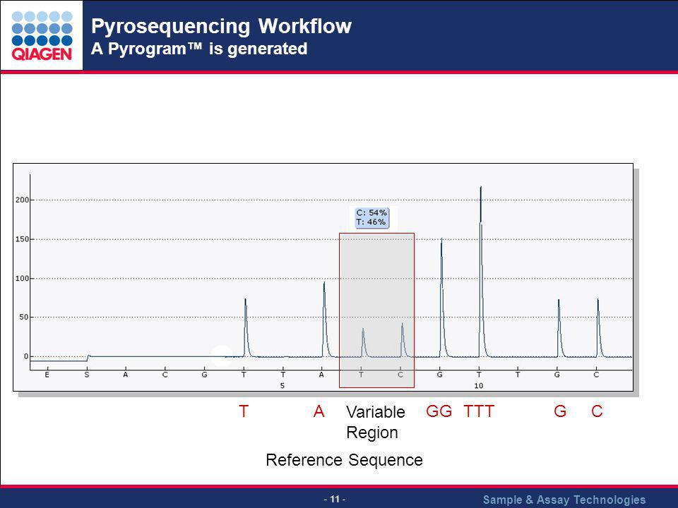 Sample & Assay Technologies - 11 - Pyrosequencing Workflow A Pyrogram is generated Variable Region Reference Sequence TAGGTTTGC