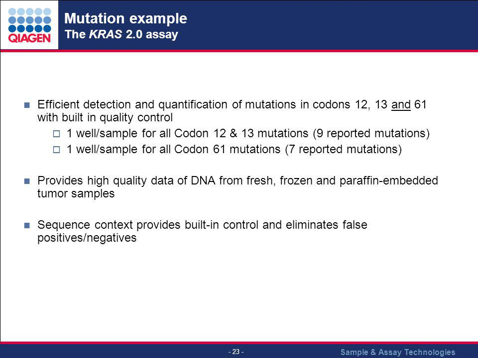 Sample & Assay Technologies - 23 - Mutation example The KRAS 2.0 assay Efficient detection and quantification of mutations in codons 12, 13 and 61 wit