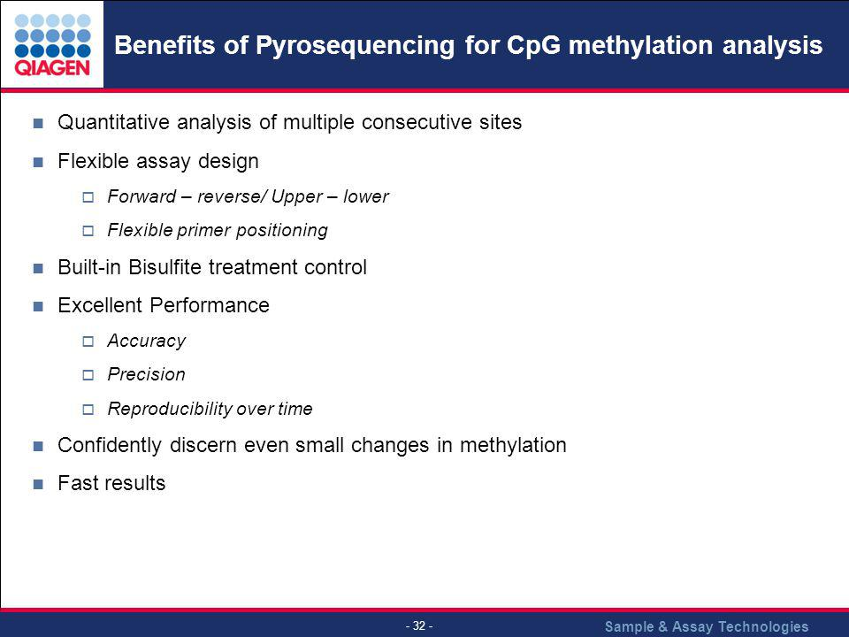Sample & Assay Technologies - 32 - Benefits of Pyrosequencing for CpG methylation analysis Quantitative analysis of multiple consecutive sites Flexibl