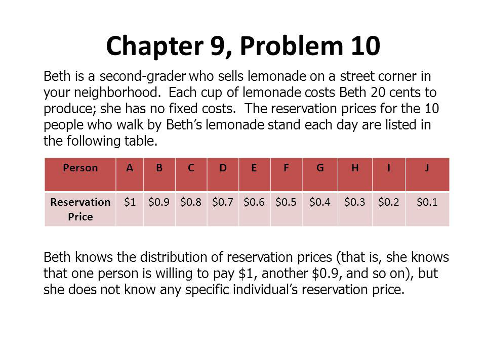 Beth is a second-grader who sells lemonade on a street corner in your neighborhood.