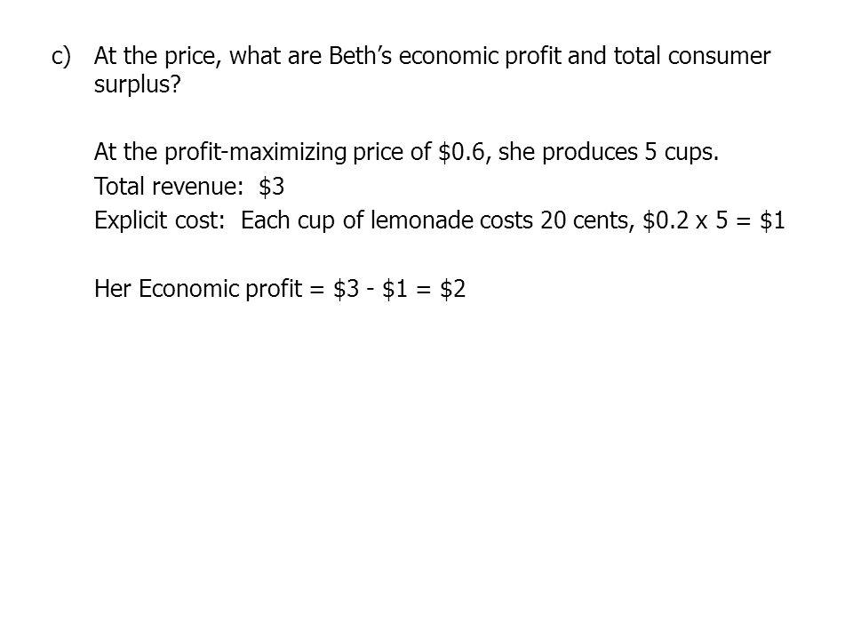 c)At the price, what are Beths economic profit and total consumer surplus.