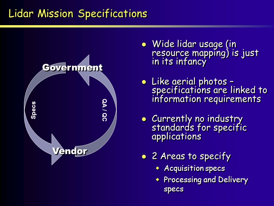 Lidar Mission Specifications Wide lidar usage (in resource mapping) is just in its infancy Like aerial photos – specifications are linked to informati