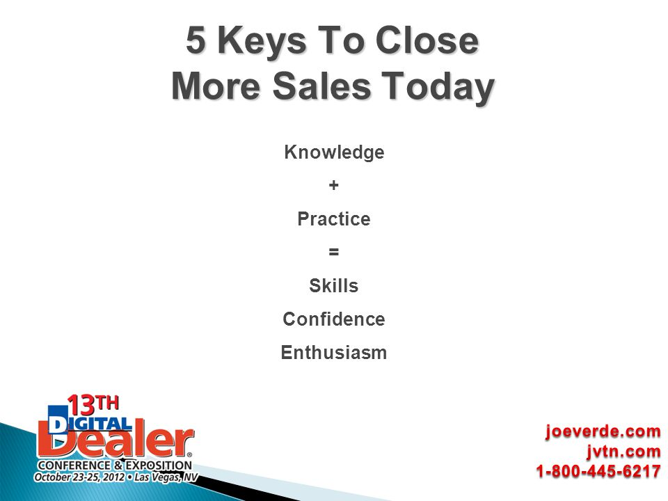 Knowledge + Practice = Skills Confidence Enthusiasm 5 Keys To Close More Sales Today