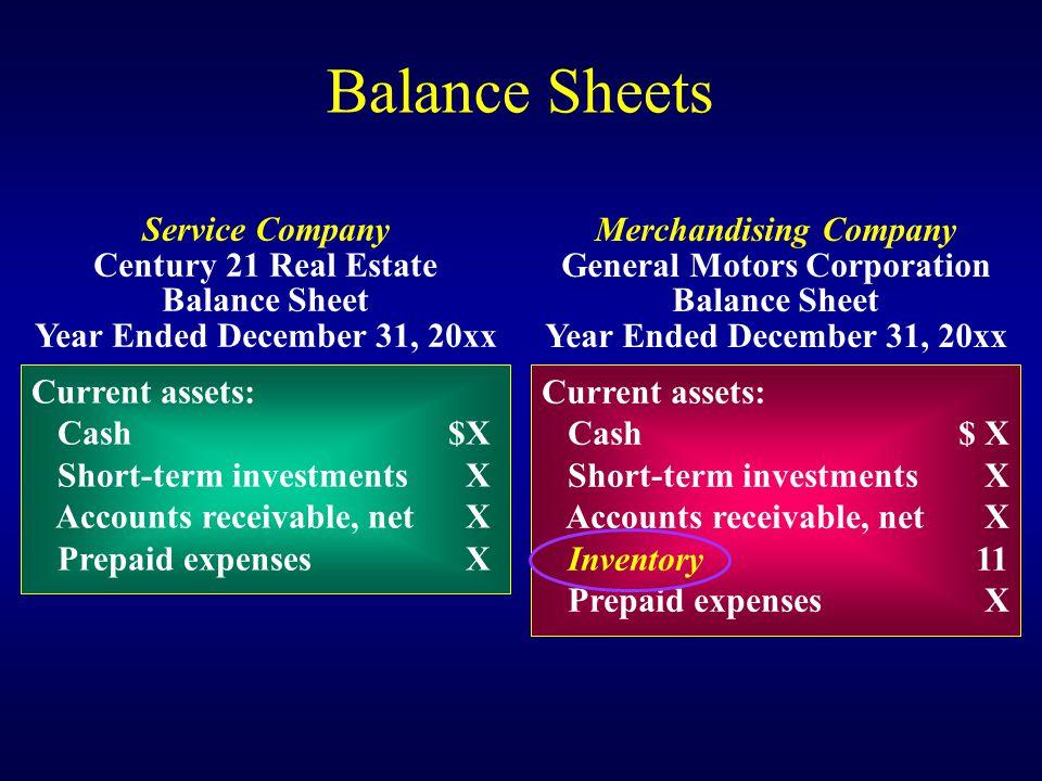 Balance Sheets Current assets: Cash$X Short-term investments X Accounts receivable, net X Prepaid expenses X Service Company Century 21 Real Estate Ba
