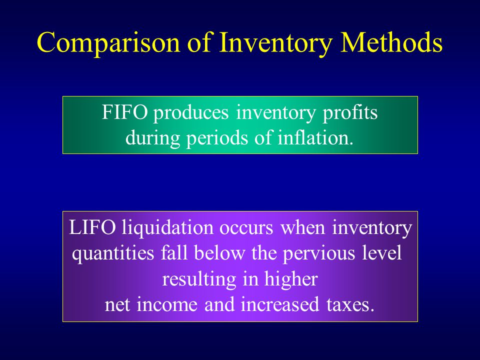 Comparison of Inventory Methods LIFO liquidation occurs when inventory quantities fall below the pervious level resulting in higher net income and inc