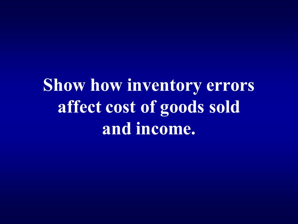 Show how inventory errors affect cost of goods sold and income.