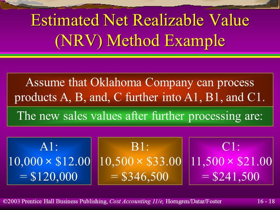 16 - 18 ©2003 Prentice Hall Business Publishing, Cost Accounting 11/e, Horngren/Datar/Foster Estimated Net Realizable Value (NRV) Method Example Assum
