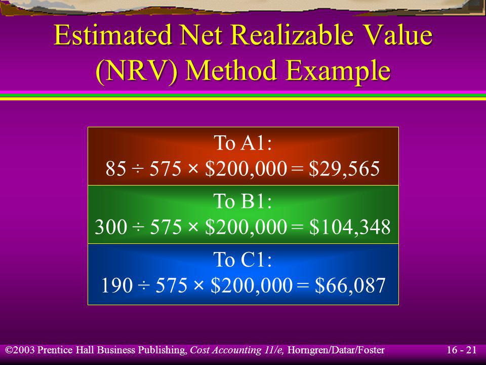 16 - 21 ©2003 Prentice Hall Business Publishing, Cost Accounting 11/e, Horngren/Datar/Foster Estimated Net Realizable Value (NRV) Method Example To A1