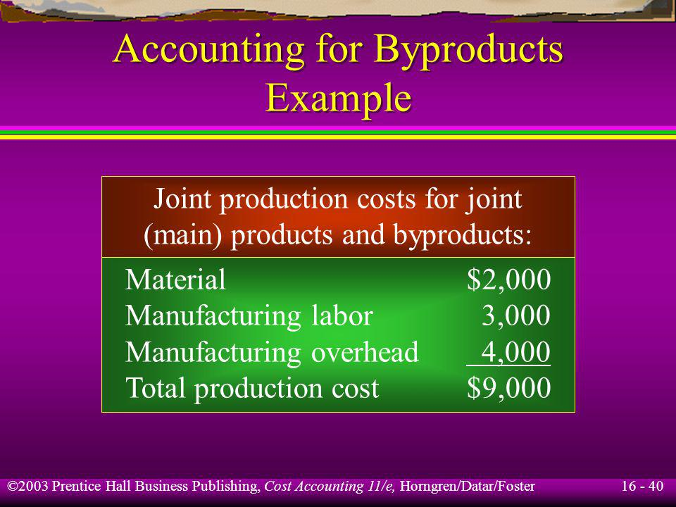 16 - 40 ©2003 Prentice Hall Business Publishing, Cost Accounting 11/e, Horngren/Datar/Foster Accounting for Byproducts Example Joint production costs