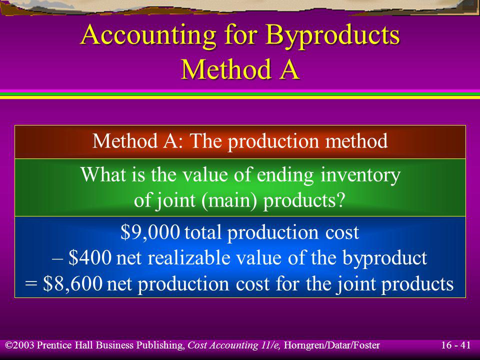 16 - 41 ©2003 Prentice Hall Business Publishing, Cost Accounting 11/e, Horngren/Datar/Foster Accounting for Byproducts Method A Method A: The producti