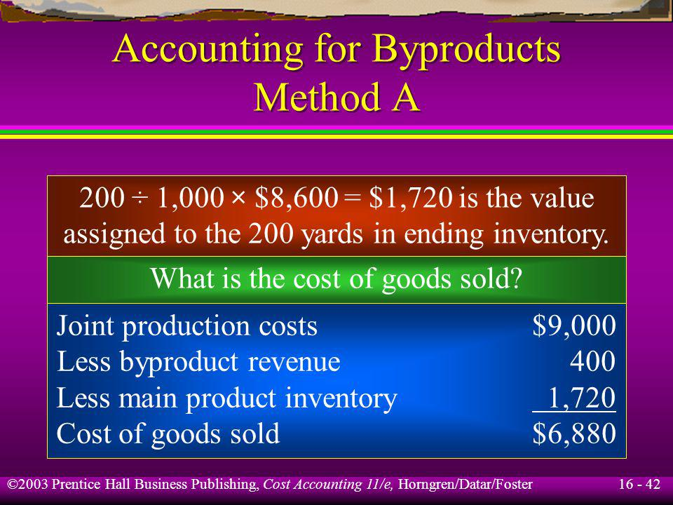 16 - 42 ©2003 Prentice Hall Business Publishing, Cost Accounting 11/e, Horngren/Datar/Foster Accounting for Byproducts Method A 200 ÷ 1,000 × $8,600 =