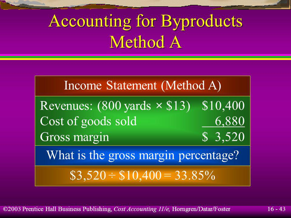 16 - 43 ©2003 Prentice Hall Business Publishing, Cost Accounting 11/e, Horngren/Datar/Foster Accounting for Byproducts Method A Income Statement (Meth