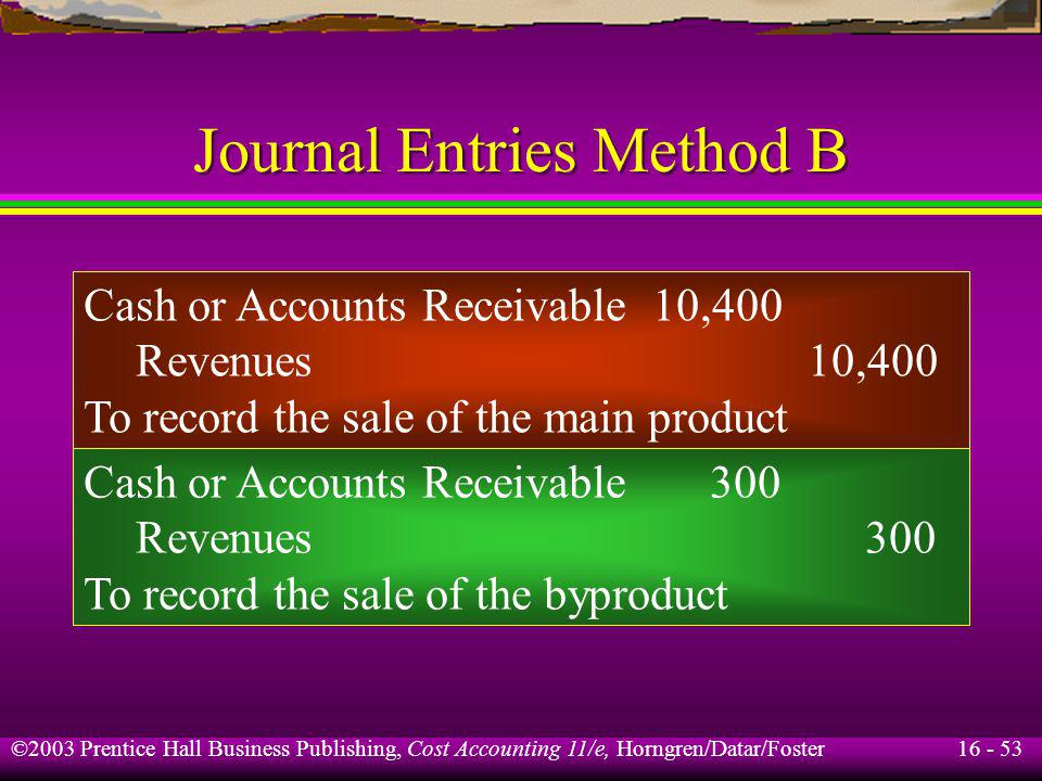 16 - 53 ©2003 Prentice Hall Business Publishing, Cost Accounting 11/e, Horngren/Datar/Foster Journal Entries Method B Cash or Accounts Receivable10,40